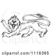 Clipart Black Heraldic Lion Royalty Free Vector Illustration