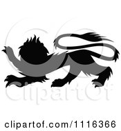 Clipart Black Silhouetted Heraldic Lion Royalty Free Vector Illustration