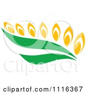 Clipart Strand Of Wheat And Green Leaves 1 Royalty Free Vector Illustration