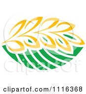 Clipart Strand Of Wheat And Green Leaves 2 Royalty Free Vector Illustration