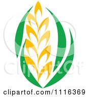 Clipart Strand Of Wheat And Green Leaves 3 Royalty Free Vector Illustration