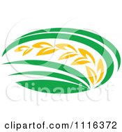Clipart Strand Of Wheat And Green Leaves 6 Royalty Free Vector Illustration