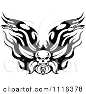 Clipart Black And White Flaming Skull Motorcycle Biker Handlebars Royalty Free Vector Illustration