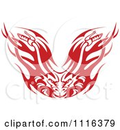 Clipart Red And White Flaming Demon Motorcycle Biker Handlebars Royalty Free Vector Illustration
