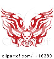 Clipart Red And White Flaming Skull Motorcycle Biker Handlebars Royalty Free Vector Illustration