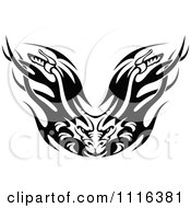 Clipart Black And White Flaming Demon Motorcycle Biker Handlebars Royalty Free Vector Illustration
