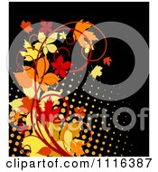 Clipart Scroll Vine With Autumn Leaves Over Halftone On Black Royalty Free Vector Illustration