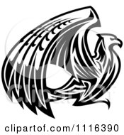 Clipart Black And White Griffin Or Eagle Royalty Free Vector Illustration