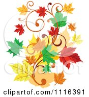 Clipart Scroll Vine With Autumn Leaves Royalty Free Vector Illustration