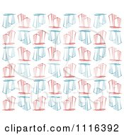 Clipart Seamless Background Pattern Of Blue And Red Skyscraper Buildings On White Royalty Free Vector Illustration