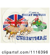 Santa And His Reindeer Operating A British Double Decker Bus