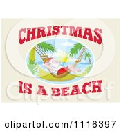 Clipart Santa On A Tropical Beach Hammock With Christmas Is A Beach Text Royalty Free Vector Illustration by patrimonio
