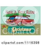 Clipart Retro Station Wagon With Presents A Tree And A Christmas Sign Royalty Free Vector Illustration