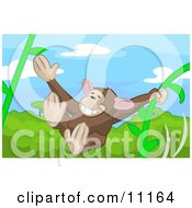 Cute Monkey Swinging On Vines In A Rainforest Clipart Illustration by AtStockIllustration