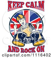 Retro British Granny Drummer With Keep Calm And Rock On Text
