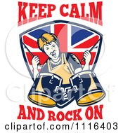 Clipart Retro British Granny Drummer Over A Shield With Keep Calm And Rock On Text Royalty Free Vector Illustration by patrimonio