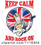 Clipart Retro British Granny Guitarist With Keep Calm And Rock On Text Royalty Free Vector Illustration