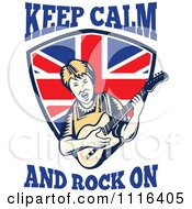 Clipart Retro British Granny Guitarist Over A Shield With Keep Calm And Rock On Text Royalty Free Vector Illustration by patrimonio