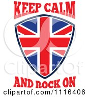 Clipart Union Jack British Flag Shield With Keep Calm And Rock On Text Royalty Free Vector Illustration by patrimonio