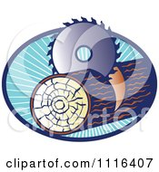 Clipart Circular Saw Cutting A Log In A Blue Oval Of Rays Royalty Free Vector Illustration by patrimonio