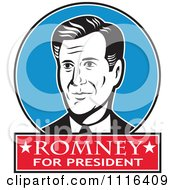 Clipart Retro Mitt Romney Portrait In A Blue Circle With Romney For President Text Royalty Free Vector Illustration
