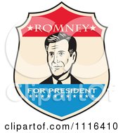 Retro Mitt Romney Portrait In A Shield With Romney For President Text
