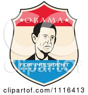 Clipart Retro President Barack Obama Portrait In A Shield With Obama For President Text Royalty Free Vector Illustration