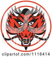 Clipart Red Chinese Dragon Head In A Circle Royalty Free Vector Illustration