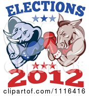 Clipart Democratic Donkey And Republican Elephant Boxing With Elections 2012 Text Royalty Free Vector Illustration by patrimonio