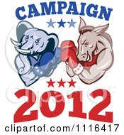 Democratic Donkey And Republican Elephant Boxing With Campaign 2012 Text