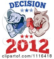 Clipart Democratic Donkey And Republican Elephant Boxing With Decision 2012 Text Royalty Free Vector Illustration
