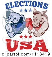 Clipart Democratic Donkey And Republican Elephant Boxing With Elections USA Text Royalty Free Vector Illustration