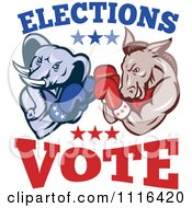 Democratic Donkey And Republican Elephant Boxing With Elections Vote Text