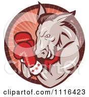 Clipart Retro Democratic Donkey Boxer In A Red Ray Circle Royalty Free Vector Illustration
