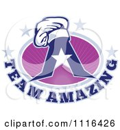 Clipart Chef Hat On A Letter A With Team Amazing Text And Purple Rays And Stars Royalty Free Vector Illustration