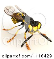 Clipart 3d Wasp Bee 5 Royalty Free CGI Illustration