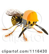 Clipart 3d Worker Wasp Bee Wearing An Orange Hard Hat Royalty Free CGI Illustration