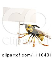 Clipart 3d Wasp Bee Holding Up A Sign Royalty Free CGI Illustration