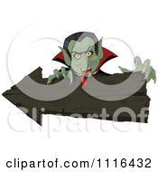 Clipart Halloween Vampire With Bloody Fangs Over A Wooden Arrow Sign Royalty Free Vector Illustration