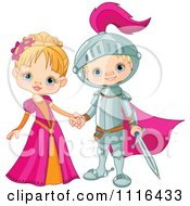 Clipart Fairy Tale Fantasy Princess And Knight Holding Hands Royalty Free Vector Illustration