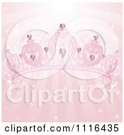 Clipart Pink Heart Diamond Tiara Crown Over Sparkly Rays Royalty Free Vector Illustration by Pushkin