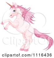 Cute Rearing Pink Unicorn With Sparkly Hair