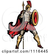 Clipart Muscular Spartan Warrior With A Spear And Shield Royalty Free Vector Illustration