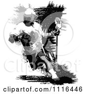 Clipart Grungy Grayscale Lacrosse Player Royalty Free Vector Illustration