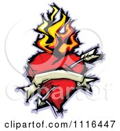 Clipart Flaming Heart With A Banner And Arrow Royalty Free Vector Illustration
