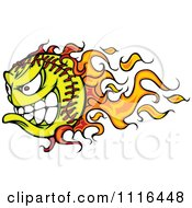 Clipart Demonic Flaming Tennis Ball Mascot Royalty Free Vector Illustration by Chromaco