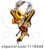 Clipart Fiery Baseball With Crossed Bats Royalty Free Vector Illustration by Chromaco