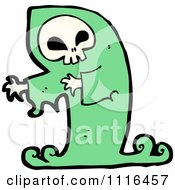 Clipart Green Halloween Spook Skull Ghost Royalty Free Vector Illustration by lineartestpilot