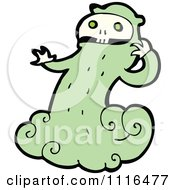 Clipart Green Halloween Skull Ghost 1 Royalty Free Vector Illustration