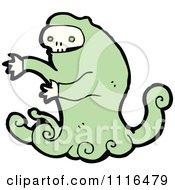 Clipart Green Halloween Skull Ghost 3 Royalty Free Vector Illustration